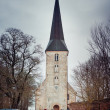 Stock Photo: Winter Jaunpils cathedral. Latvia