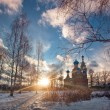 Winter landscape with church — Stock Photo