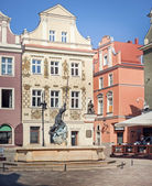 Fountain of Mars and Old Town Hall in Poznan, Poland — Stock Photo