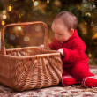 Baby girl in christmas wear — Stock Photo