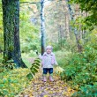 Little girl playing with leaves in autumn park — Stock Photo #31695695