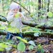 Stock Photo: Little girl playing with leaves in autumn park