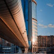 Moscow City district and bagration bridge — Stok fotoğraf