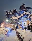 Winter road with christmas illuminations — Stock Photo