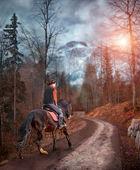 Dreaming Horseback riding through Alps — Stock Photo