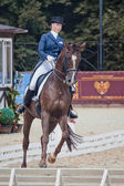 Medalist Marina Aframeeva horse named Vosk — Stock Photo