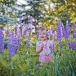 Portrait of little girl in a field of lupines flowers — Stock Photo #50160489