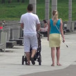 Young family walking in the park — Stock Video #25468307