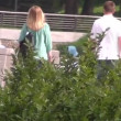 Young family walking in the park — Stock Video