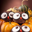 Owl cookies with pumpkins — Stock Photo