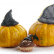 Halloween muffins with pumpkins - Stock Photo