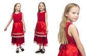 Słodkie dziewczynki w czerwonej sukience — Zdjęcie stockowe