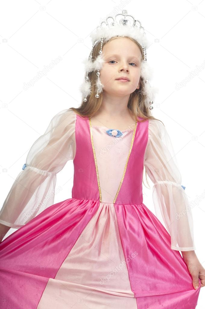 Little cute girl in pink dress with a tiara on her head — Stock Photo #15646873