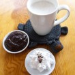 Cup of milk with chocolate and whipped cream — Stok fotoğraf