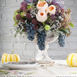 Table setting with flowers decoration - Stok fotoraf
