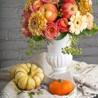 Autumn still life with pumpkin in retro style — Stock Photo