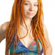 Beautiful girl with red dreadlocks — Stock Photo