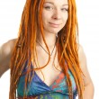 Stock Photo: Beautiful girl with red dreadlocks