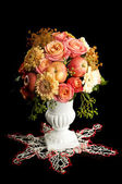 Autumn bouquet with apple in vase — Stock Photo