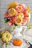 Autumn still life with pumpkin in retro style — Stock Photo