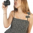 Pregnant woman with photo camera - Stock Photo