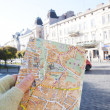Map of  Lviv in a girl hand, Lviv, Ukraine - Photo