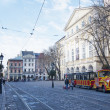LVIV, UKRAINE, NOVEMBER 3, 2012: Rynok square, on November 3, 2012, in Lviv, Ukraine - Stock Photo