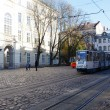 LVIV, UKRAINE, NOVEMBER 3, 2012: Tram in old town, on November 3, 2012, in Lviv, Ukraine - Stock Photo