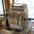 Old-time cash register in a vintage pharmacy-museum, old town, Lvov - Stock Photo