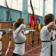 KIEV, UKRAINE, MARCH 8, 2012 : archery competition, on March 8, 2012, Kiev, Ukraine — Stock Photo