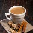 Masala tea with spices — Stock Photo