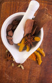 Mortar with dried spices — Stock Photo