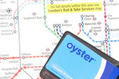 Oyster card and tube map — Stock Photo