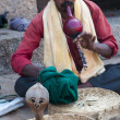 Indian snake charmer with cobra. Hampi, India - Stock Photo