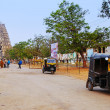 Pulled rickshaw near the Virupaksha Hindu Temple in Hampi, India. — Stock Photo