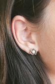 Silver earrings with pearls and marcasite — Stock Photo