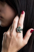 Silver ring with green onyx — Stock Photo