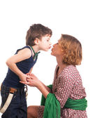 Mother and son kissing — Stock Photo
