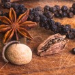 Stock Photo: Black Pepper with star anis, cardamom pod and nutmeg