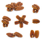 Brown pecans piles — Stock Photo