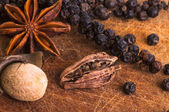 Black Pepper with star anis, nutmeg and cardamom pod — Stock Photo