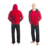 Back and front view of bald man in sport red jacket — Stok fotoğraf