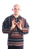 Man showing padma mudra gesture — Stock Photo
