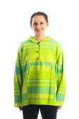 Woman in bright sport hoody — Stock Photo