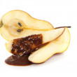 Slices of pear with chocolate — Stock Photo