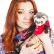 Woman holding ferret — Stock Photo