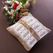 Vintage wedding pillow with ring and flowers — Stok fotoğraf