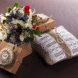 Stock Photo: Wedding pillow with ring and flowers in vintage box