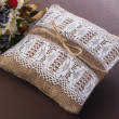 Vintage wedding pillow with ring  — Stok fotoğraf