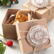 Cookies in vintage decorative boxes with flowers — Stock Photo